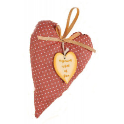 Fabric heart with wooden heart My Doll GW008