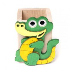 Porte-crayon en bois crocodile il Pianeta delle Idee