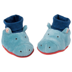 Hippo baby booties 0-6 months Moulin Roty 658011
