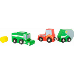 Set di veicoli fattoria legno Small Foot World 10803