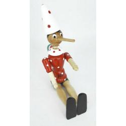 Pinocchio wooden puppet H cm 24 white hat